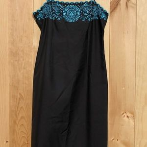 ANN TAYLOR BLACK TURQUOISE EMBROIDERED SLIP DRESS